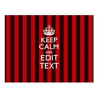 Festive Keep Calm Your Text on Red Stripes Postcard