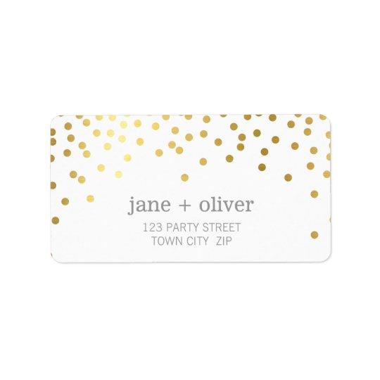 FESTIVE LABEL modern confetti spot gold foil grey
