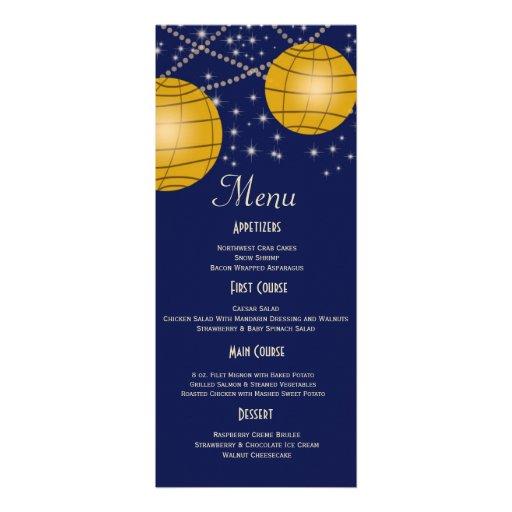 Festive Lanterns with Dark Blue & Amber Yellow Custom Invitations