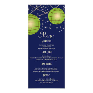 Festive Lanterns with Dark Blue & Apple Green Personalized Announcement