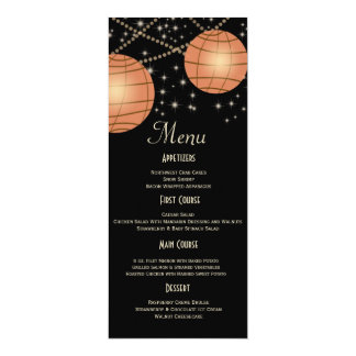 "Festive Lanterns with Pastel Black & Apricot 4"" X 9.25"" Invitation Card"