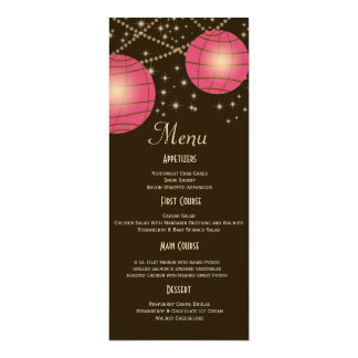 Festive Lanterns with Pastel Dark Brown & Pink Personalized Announcement