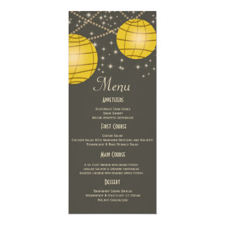 "Festive Lanterns with Pastel Gray & Golden Yellow 4"" X 9.25"" Invitation Card"