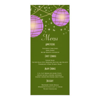 "Festive Lanterns with Pastel Moss Green & Lavender 4"" X 9.25"" Invitation Card"