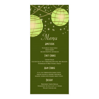 Festive Lanterns with Pastel Olive & Apple Green 10 Cm X 24 Cm Invitation Card