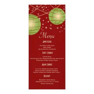 Festive Lanterns with Pastel Red & Apple Green 10 Cm X 24 Cm Invitation Card