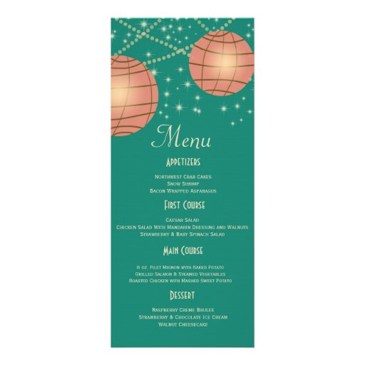 Festive Lanterns with Pastel Sea Green & Tea Rose Personalized Announcements