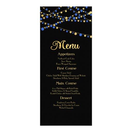 Festive Lights – Royal / Ocean Blue + Gold Custom Announcements