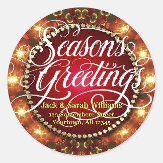 Festive Lights Season Greetings Gift Tag Sticker