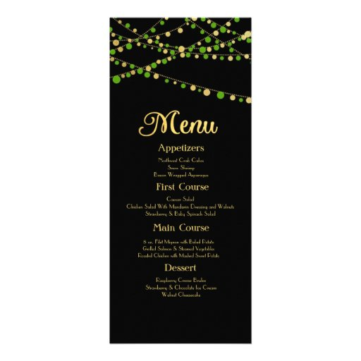 Festive Lights – Spring Green + Gold Personalized Invitation