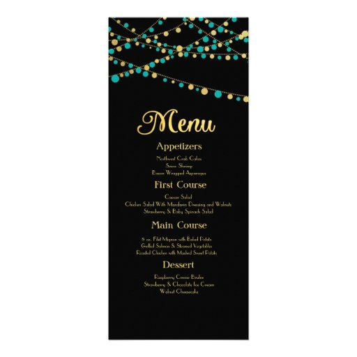 Festive Lights – Turquoise / Aqua + Gold Custom Invites