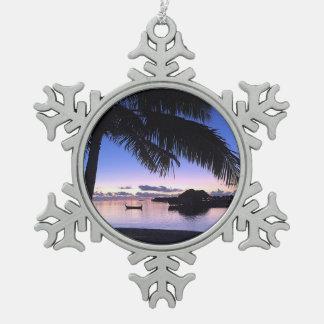 Festive Maldives Sunset Gondola Palm Trees Pewter Snowflake Decoration