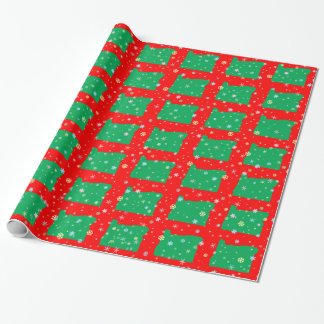 Festive Map of Oregon Green on Red Snowflakes Wrapping Paper