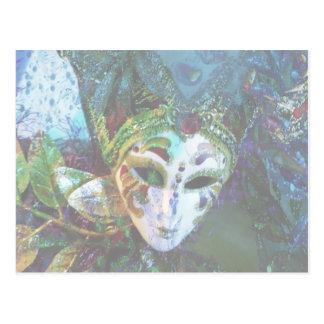 Festive Mardi Gras Mask Design Postcard