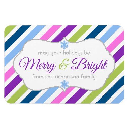 Festive Merry and Bright Christmas Flex Magnet