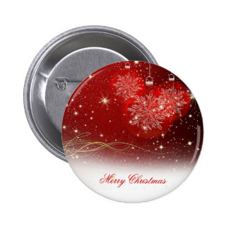 "Festive ""Merry Christmas"" snowflakes ornaments Pinback Button"