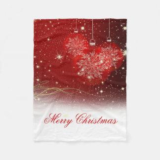 "Festive ""Merry Christmas"" snowflakes ornaments Fleece Blanket"