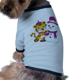 Festive Merry Christmas Snowman Dog T-shirt