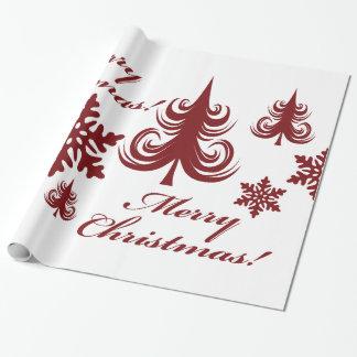 Festive Merry Christmas Tree Snowflakes Gift Wrap