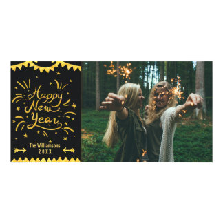 Festive Modern Happy New Year Black & Gold Photo Photo Greeting Card