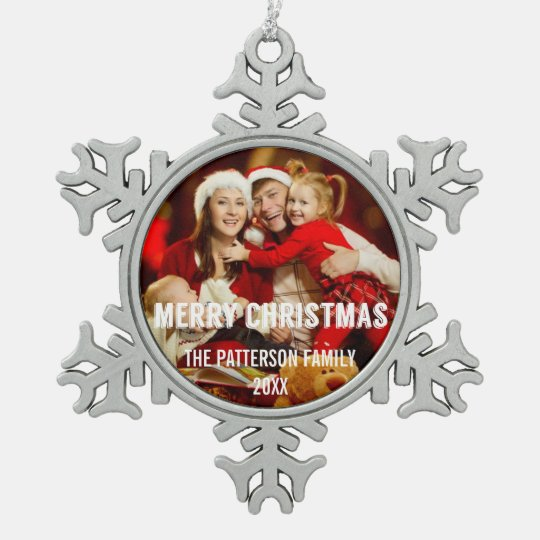 Festive Modern Merry Christmas Photo Ornament