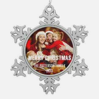 Festive Modern Merry Christmas Photo Ornament