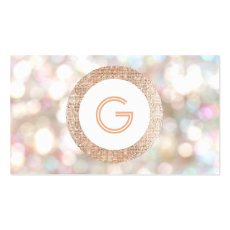 Festive Monogram Bokeh and Rose Gold  Faux Sequin Pack Of Standard Business Cards