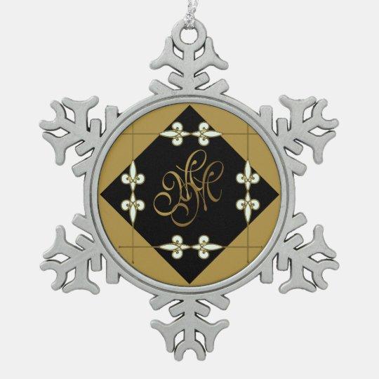 Festive Nostalgic Victorian Vintage Art Nouveau Snowflake Pewter