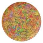 Festive Orange Doodle Plate