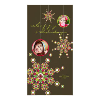 Festive Ornament Stars Happy Holidays Photo Card