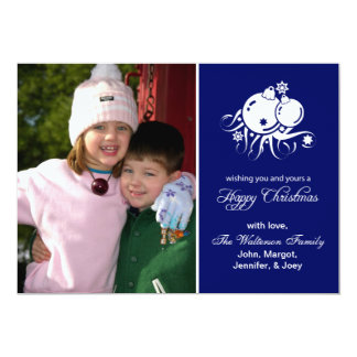"Festive Ornaments Card (Happy Christmas Navy Blue) 5"" X 7"" Invitation Card"