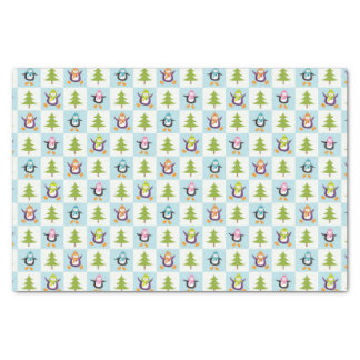 Festive Penguins and Christmas Trees Pattern Tissue Paper
