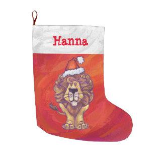 Festive Personalized Lion Christmas Large Christmas Stocking