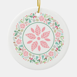 Festive Pink Green Wreath Collage Ornament