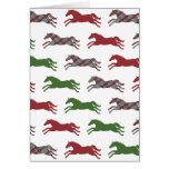 Festive Plaid Horse Pattern Christmas Greeting Cards