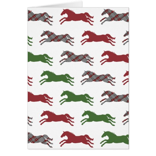 Festive Plaid Horse Pattern Christmas Greeting Card