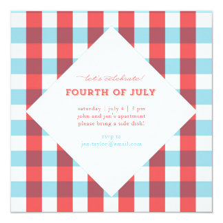 Festive Plaid July Fourth Square Invitation