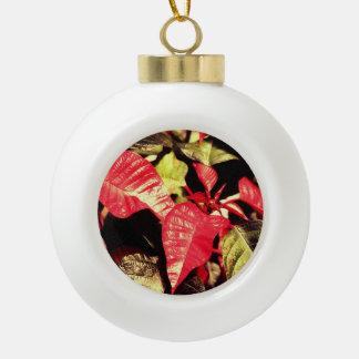 Festive Poinsettia Ceramic Ball Christmas Ornament