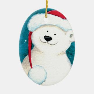 Festive Polar Bear in a Santa Hat Christmas Ornament