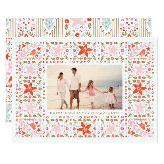 Festive Pretty Christmas Holiday Photo Card
