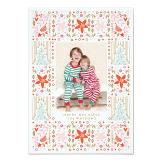 Festive Pretty Colorful Christmas Photo Card