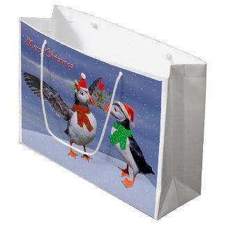 Festive Puffins Large Gift Bag