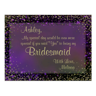 Festive Purple Glow - Will You Be My Bridesmaid? Postcard