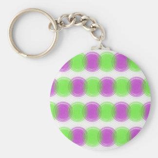 Festive Purple & Lime Green Pattern Basic Round Button Key Ring