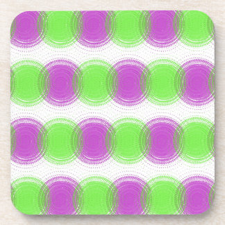 Festive Purple & Lime Green Pattern Drink Coaster