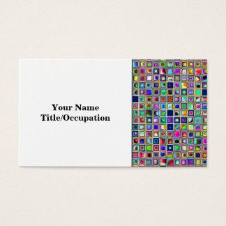 Festive Rainbow Textured Mosaic Tiles Pattern Business Card