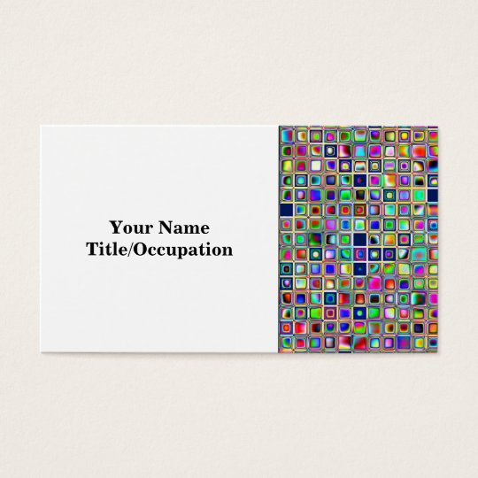 Festive Rainbow Textured Mosaic Tiles Pattern Business Card