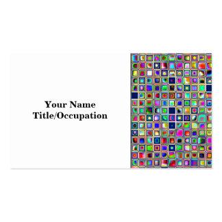 Festive Rainbow Textured Mosaic Tiles Pattern Business Card Template