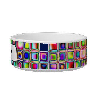 Festive Rainbow Textured Mosaic Tiles Pattern Cat Bowl