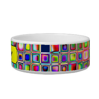 Festive Rainbow Textured Mosaic Tiles Pattern Pet Bowl
